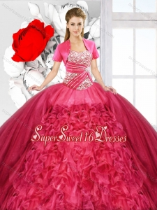 Elegant Ball Gown Sweetheart Quinceanera Dresses in Coral Red