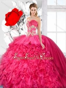 Exquisite Ball Gown Beaded Sweet 16 Dresses in Hot Pink