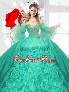 Popular Beaded Turquoise Quinceanera Gowns with Ruffles for 2016 Spring