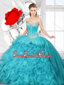 Hot Sale Ball Gown Sweet 16 Gowns with Beading and Ruffles for 2016 Spring