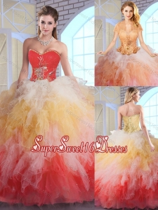 2016 Luxurious Appliques and Ruffles Quinceanera Dresses in Multi Color