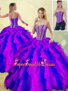 Detachable classical Beading and Ruffles Multi Color Sweet 16 Dresses