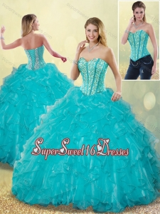 Elegant Aqua Blue Sweet 16 Detachable Dresses with Beading and Ruffles