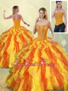 Perfect Multi Color Sweetheart Detachable Quinceanera Gowns with Beading