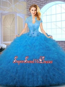 2016 Elegant Blue Sweet 16 Dresses with Appliques and Ruffles