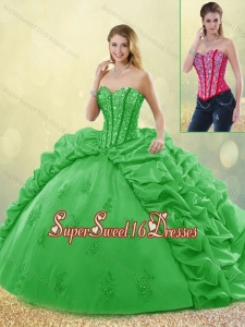 Elegant Spring Sweet 16 Detachable Dresses with Beading and Appliques