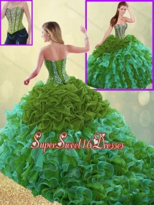 Exquisite Sweetheart Detachable Quinceanera Gowns with Beading and Ruffles