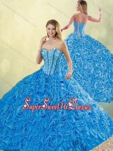 New Style Blue Detachable Quinceanera Dresses with Brush Train for 2016
