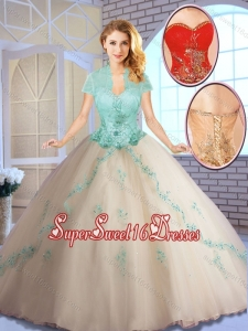 Perfect Champagne Sweet 16 Dresses with Appliques