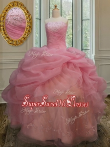 Latest Really Puffy Strapless Watermelon Red Sweet 15 Dress with Appliques
