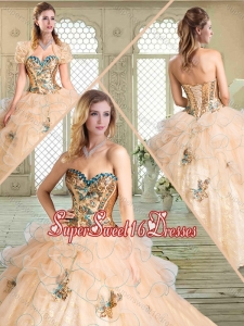 Lovely Sweetheart Quinceanera Dresses with Appliques and Ruffles