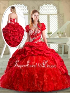 Perfect Brush Train Sweet 16 Dresses with Beading and Pick Ups