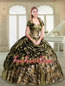 Perfect Multi Color Camo Sweet 16 Dresses with Pick Ups for Winter