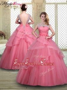 2016 Elegant Backless Quinceanera Dresses with Beading and Hand Made Flowers