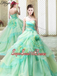2016 New Strapless Brush Train Quinceanera Dresses with Hand Made Flowers