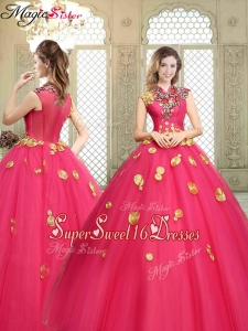Beautiful High Neck Cap Sleeves Sweet Sixteen Dresses with Appliques