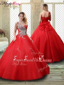Discount One Shoulder Sweet Sixteen Dresses with Beading in Red