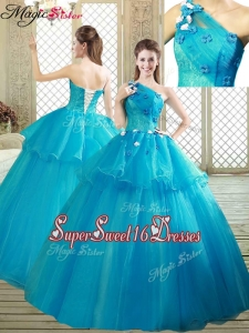 Popular One Shoulder Quinceanera Dresses with Ruffles and Appliqu