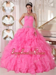 Cheap Ball Gown Strapless Quinceanera Dresses in Hot Pink