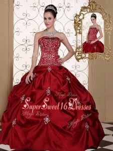 Hot Sale Pick Ups Strapless Quinceanera Gowns in Wine Red
