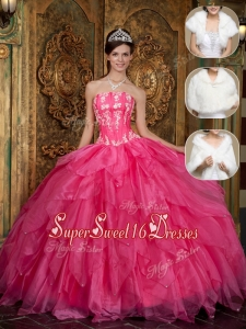 Hot Sale Strapless Quinceanera Dresses with Appliques and Ruffles