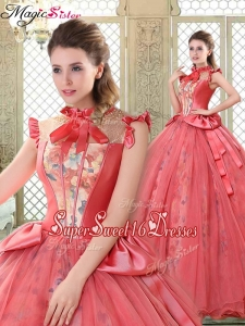 Discount High Neck Cap Sleeves Sweet Sixteen Dresses with Bowknot