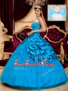 Elegant Strapless Appliques and Beading Quinceanera Gowns
