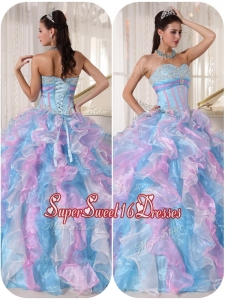 Fashionable Sweetheart Quinceanera Gowns with Ruffles and Appliques