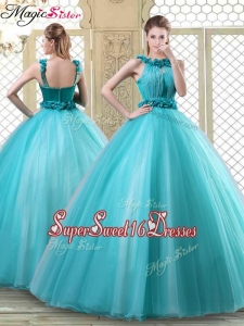 Pretty Bateau Sweet Sixteen Dresses with Ruffles in Teal