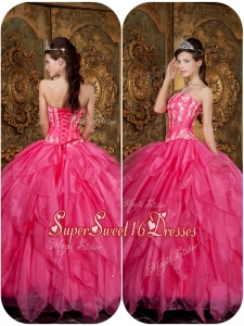 Beautiful Appliques and Ruffles Hot Pink Sweet 16 Dresses