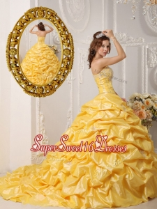New Style Pick Ups and Appliques Quinceanera Gowns with Court Train