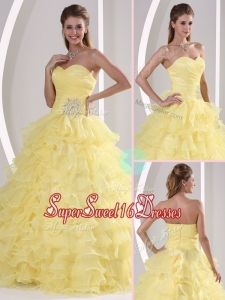 New Style Sweetheart Quinceaners Gowns with Appliques and Ruffled Layers