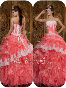 Perfect Appliques Waltermelon Strapless Quinceanera Dresses
