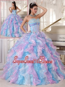 Summer Elegant Multi Color Quinceanera Gowns with Ruffles and Appliques