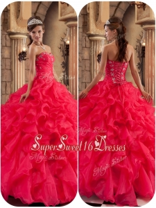 201Modest Beading and Ruffles Quinceanera Dresses in Coral Red