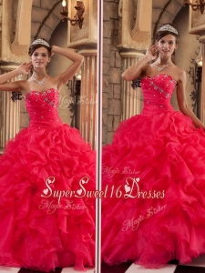 Luxurious Red Sweetheart Quinceanera Gowns with Ruffles