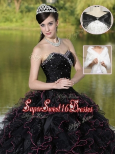Modest Ruffles Layered and Beading Sweet 16 Dresses in Black