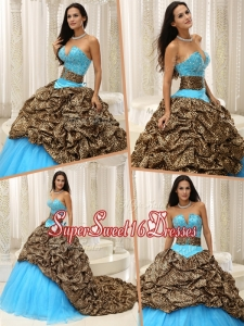 Spring Plus Size Beading Sweetheart Quinceanera Dresses with Brush Train