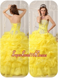 Cheap Strapless Beading and Ruffles Quinceanera Gowns