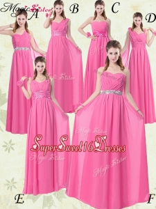 Fashionable Empire Ruching Dama Dresses for Rose Pink
