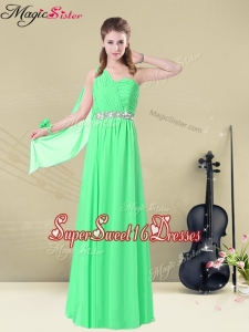 The Most Popular One Shoulder Floor Length Dama Dresses with Ruching and Belt