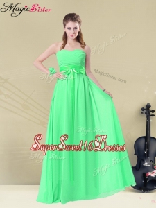 Wonderful Empire Sweetheart Dama Dresses with Ruching and Belt