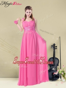 Latest Empire V Neck Ruching Quinceanera Dama Dresses for Spring