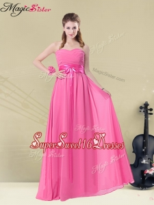 Pretty Sweetheart Quinceanera Dama Dresses with Ruching and Belt