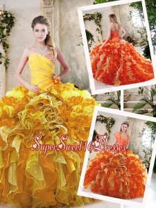 Beautiful Beading and Ruffles Sweet 16 Dresses in Multi Color