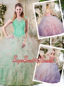 Perfect Appliques and Ruffles Sweet 16 Dresses in Multi Color