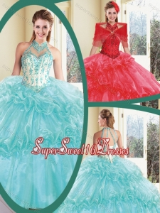Perfect Halter Top Sweet 16 Dresses with Appliques and Ruffles