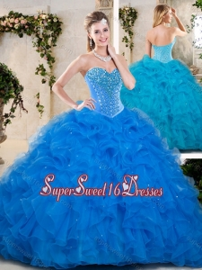 Popular Beading and Ruffles Sweet 16 Dresses in Blue