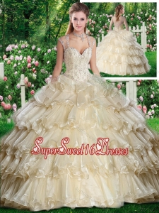 2016 Beautiful Straps Champange Sweet 16 Dresses with Beading and Ruffled Layers