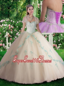 2016 Inexpensive Champagne Quinceanera Dresses with Beading and Appliques